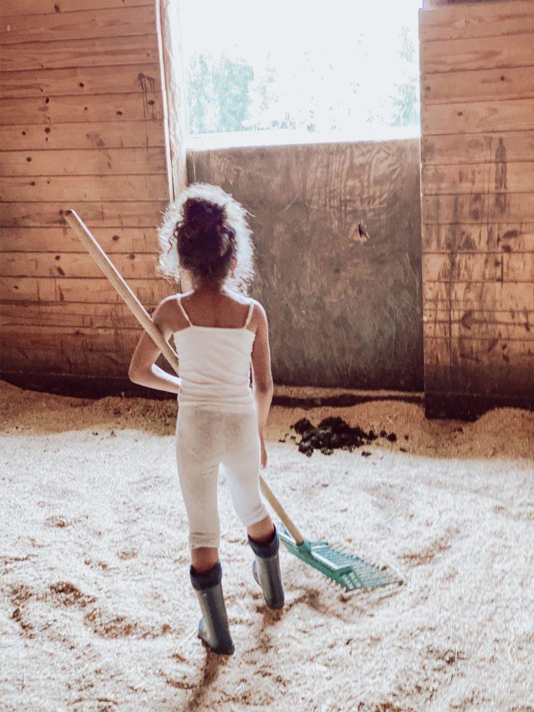 child mucking horse stall