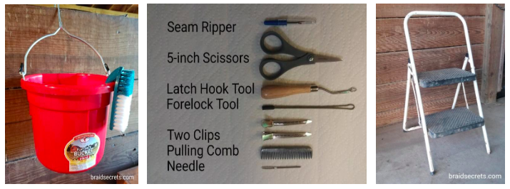 Essential horse braiding supplies