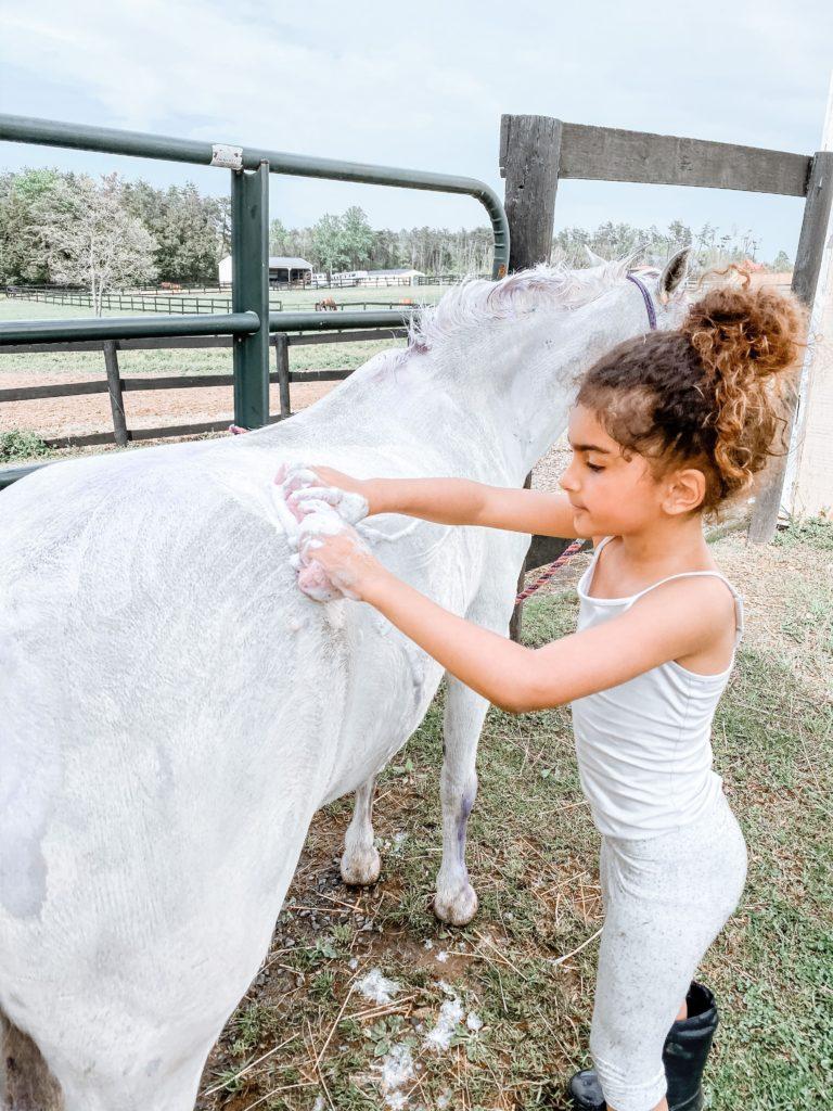 girl bathing pony
