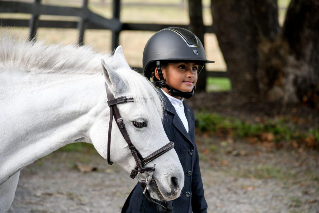 horse rider wearing helmet