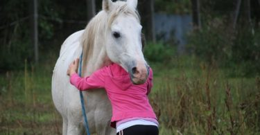 horse girl hugging