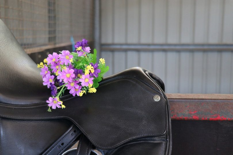 dressage saddle with flowers