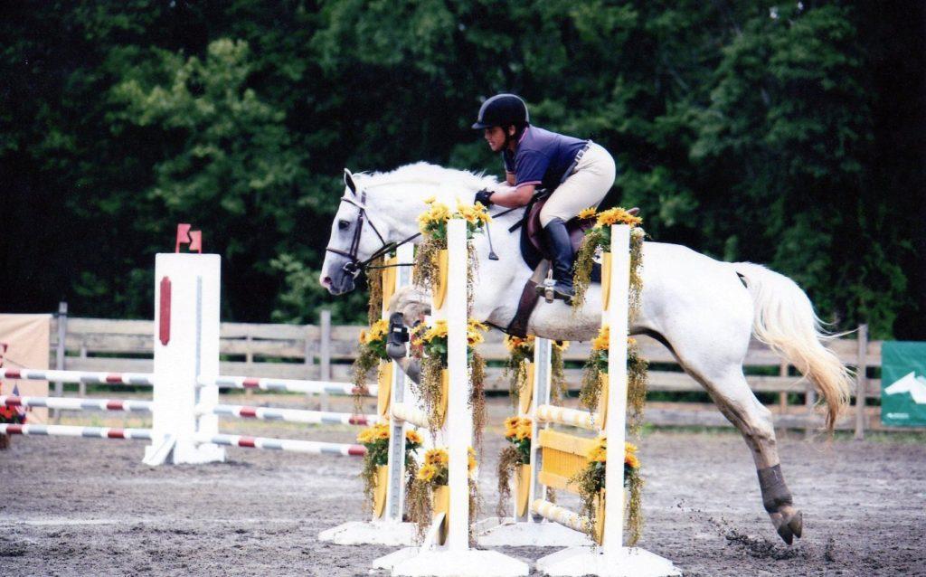 narissa jones white horse jumping