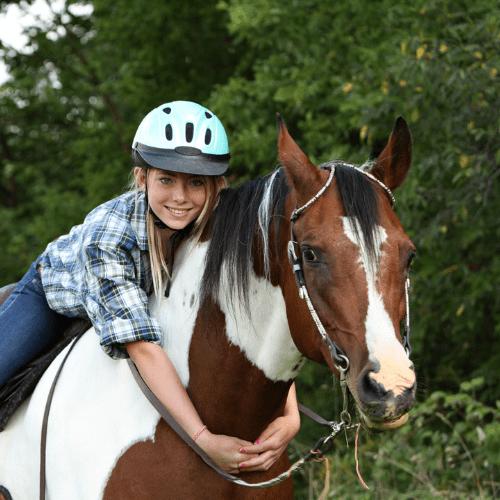 horse girl hug