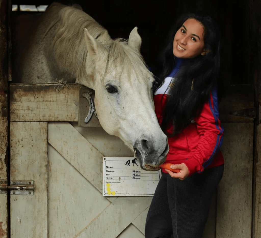 white horse with girl